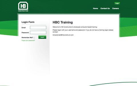 Screenshot of Login Page hbconstruct.com - HB Construction Company Ltd. - captured Oct. 1, 2014