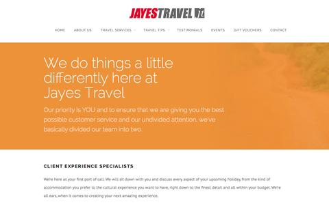 Screenshot of About Page jayestravel.com.au - About Us | Jayes Travel - captured Sept. 30, 2014