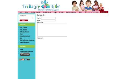 Screenshot of Support Page treasureboxkids.com - Contact Us - captured Nov. 1, 2014