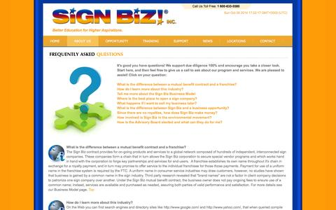 Screenshot of FAQ Page signbiz.com - About Sign Biz Inc. Frequently Asked Questions - captured Oct. 26, 2014