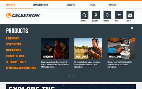 Screenshot of Products Page celestron.com - Telescopes, Telescope Accessories, Outdoor and Scientific Products by Celestron - captured Jan. 26, 2016