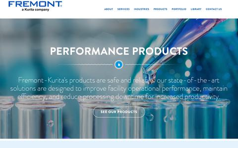 Screenshot of Products Page fremontind.com - Water Treatment Products | Fremont Water Solutions - captured Oct. 11, 2018