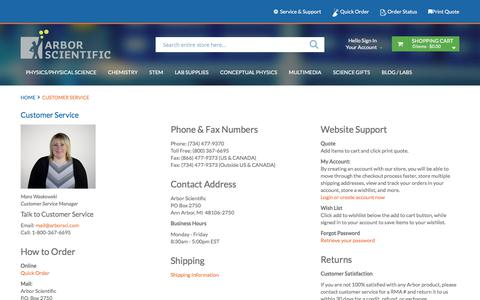 Screenshot of Contact Page Support Page arborsci.com - Customer Service - captured Aug. 25, 2017