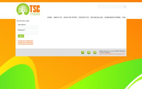 Screenshot of Login Page tscmedia.co.za - TSC Media - Login - captured Oct. 6, 2014