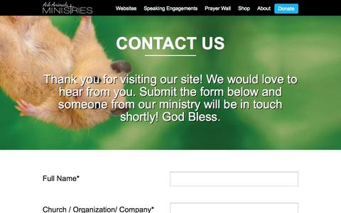 Screenshot of Contact Page arkanimalsministries.org - Contact Us | - captured Oct. 29, 2014