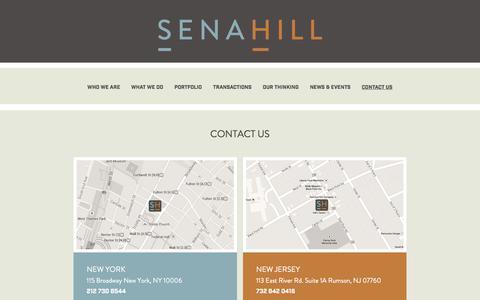 Screenshot of Contact Page senahill.com - Contact Us | Senahill Partners, LLC - captured Aug. 12, 2019