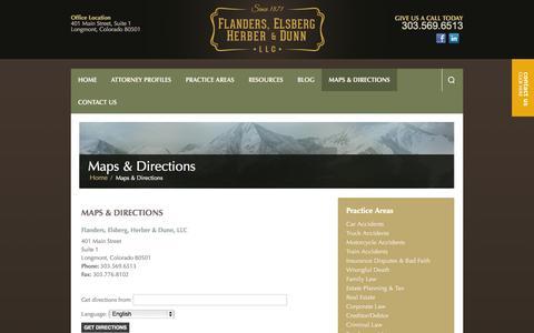 Screenshot of Maps & Directions Page flanderslaw.com - Maps & Directions | Longmont, Colorado Law Firm | Flanders, Elsberg, Herber & Dunn, LLC - captured Nov. 3, 2014