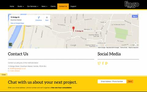 Screenshot of Contact Page lingodesign.co.uk - Contact Us - Lingo Design Ltd - Lingo Design Ltd - captured Sept. 30, 2014