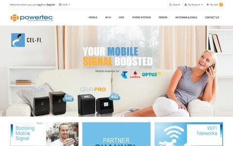 Screenshot of Home Page powertec.com.au - Powertec Telecommunications - captured Jan. 30, 2016