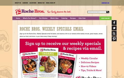 Screenshot of Signup Page rochebros.com - Roche Bros. Weekly Specials Email «  Roche Bros. Supermarkets - captured Sept. 24, 2018