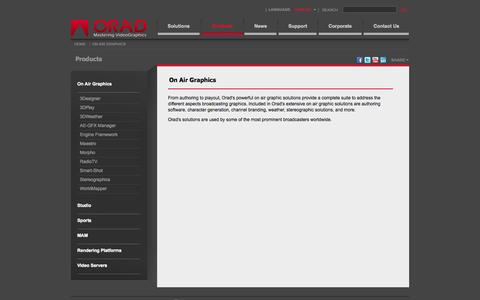 Screenshot of Products Page orad.tv - On Air Graphics - Orad - captured Oct. 26, 2014
