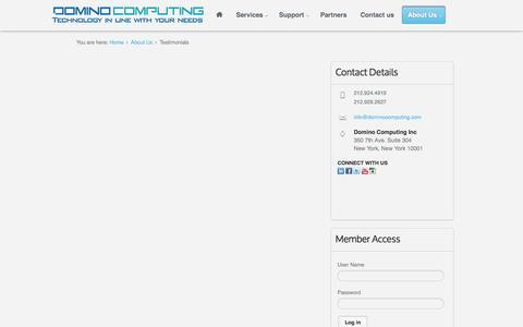 Screenshot of Testimonials Page dominocomputing.com - Testimonials - captured Oct. 1, 2014