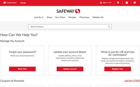 Screenshot of Contact Page safeway.com - Contact Us   Safeway - captured Sept. 19, 2019