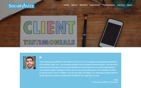 Screenshot of Testimonials Page sociallybuzz.com - Testimonials - Social Media Services and Management - captured May 26, 2017