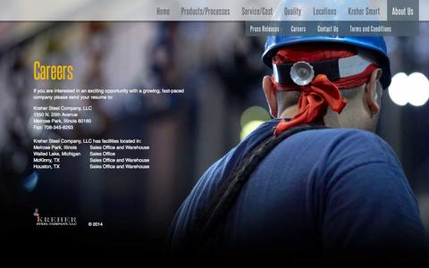 Screenshot of Jobs Page kreher.com - Kreher Steel Company - captured Oct. 6, 2014