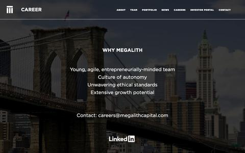 Screenshot of Jobs Page megalithcapital.com - Career |  MEGALITH - captured Nov. 15, 2018