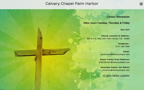 Screenshot of Contact Page ccpalmharbor.org - Contact «  Calvary Chapel Palm Harbor - captured Jan. 24, 2016