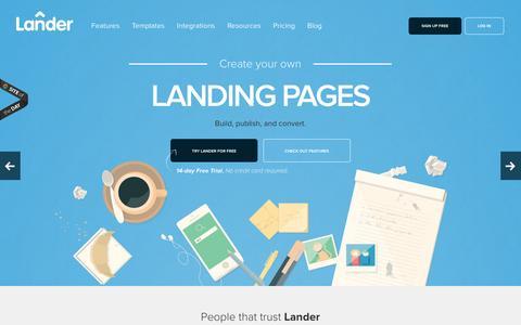 Screenshot of Home Page landerapp.com - Landing Page: Create, Publish and Optimize for Free   Lander - captured Dec. 2, 2015
