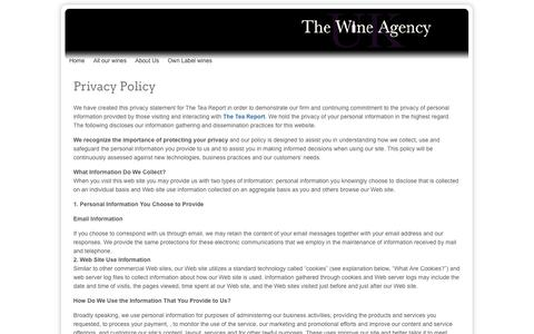 Screenshot of Privacy Page thewineagency.co.uk - Privacy Policy - captured Oct. 22, 2014
