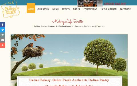 Screenshot of Home Page thecharmingkitchen.com - Charming Kitchen: Fresh Cannoli, Cookies and Pastries - Italian Bakery - captured Oct. 27, 2017