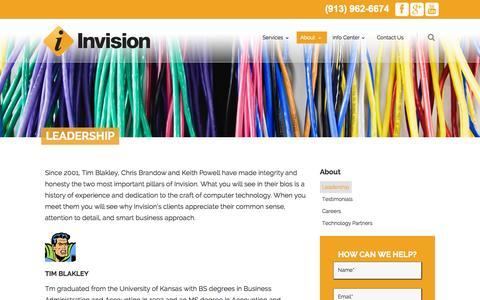 Screenshot of Team Page invisionkc.com - Leadership | Invision | Kansas City IT Management - captured Oct. 6, 2014