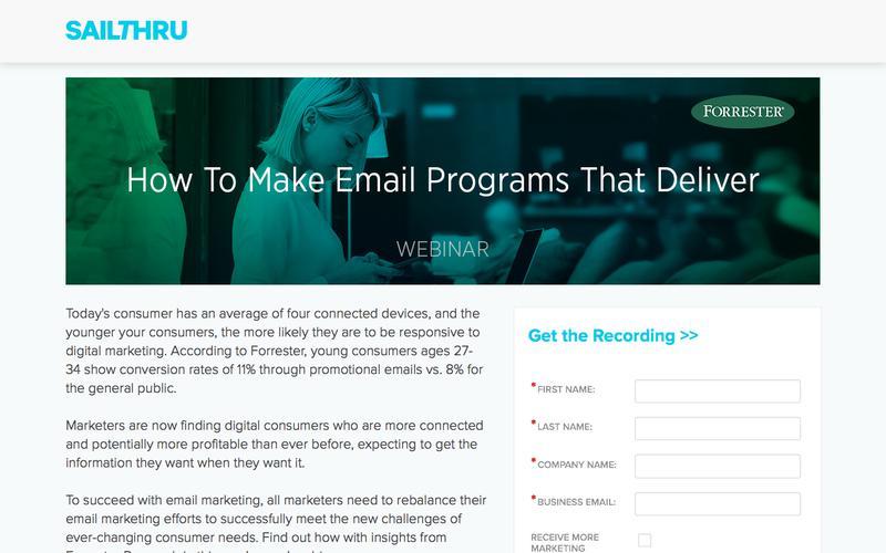Sailthru + Forrester Present: How to Make Email Programs that Deliver