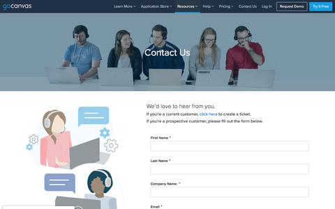 Screenshot of Contact Page gocanvas.com - Contact Us – GoCanvas - captured July 31, 2019