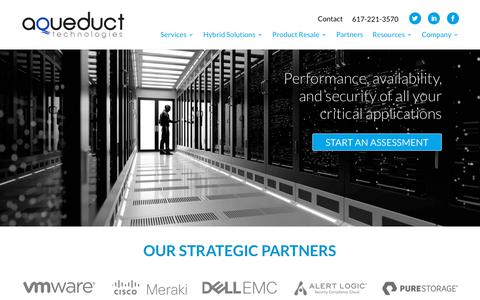 Screenshot of Home Page aqueducttech.com - Aqueduct Technologies - New England's IT Solutions Provider - captured Aug. 15, 2019