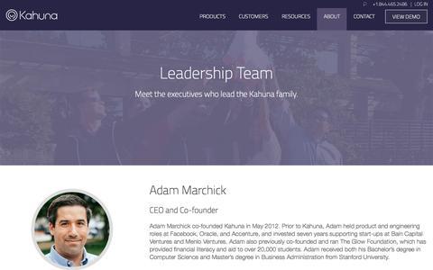 Screenshot of Team Page kahuna.com - Leadership Team | Kahuna - captured Nov. 11, 2015