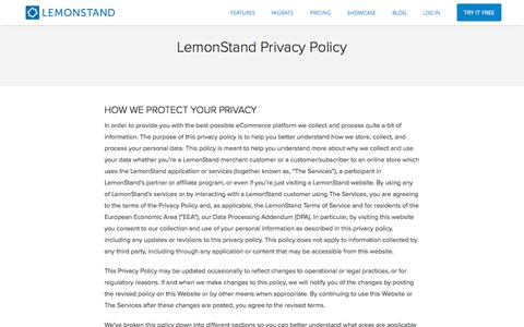 Screenshot of Privacy Page lemonstand.com - Privacy Policy | LemonStand - captured June 5, 2018
