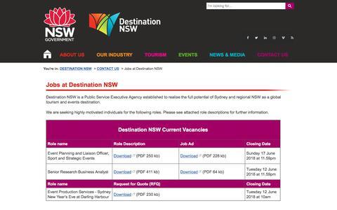 Screenshot of Jobs Page destinationnsw.com.au - Jobs at Destination NSW   Destination NSW - captured June 7, 2018