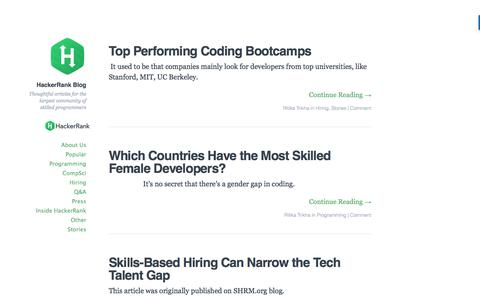 HackerRank Blog - Thoughtful articles for the largest community of skilled programmers