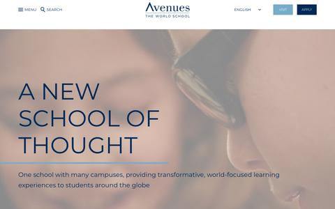 Screenshot of Home Page avenues.org - Avenues: The World School - captured Sept. 15, 2019
