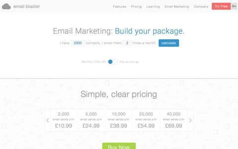 Screenshot of Pricing Page emailblasteruk.com - Email Blaster Prices and Package - Send 2,000+ emails from £10.99 - captured July 18, 2018