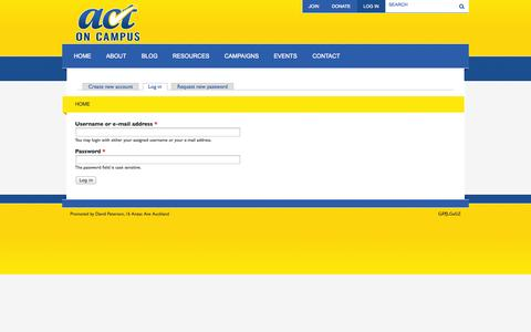 Screenshot of Login Page actoncampus.org.nz - Home   ACT on Campus - captured Sept. 30, 2014