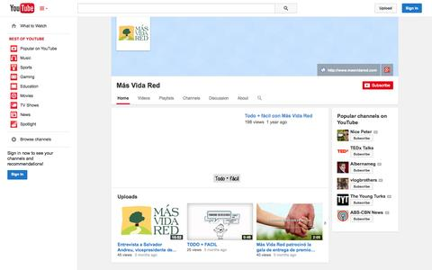 Screenshot of YouTube Page youtube.com - Más Vida Red  - YouTube - captured Oct. 27, 2014