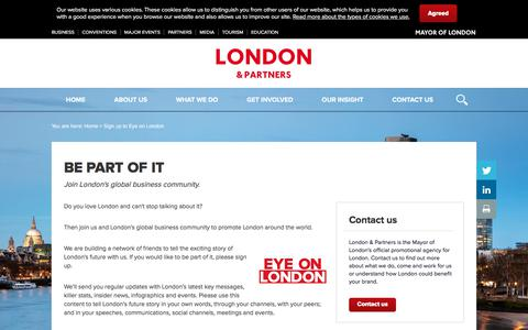 Screenshot of Signup Page londonandpartners.com - London & Partners: sign up to Eye on London - London & Partners - captured Sept. 17, 2019