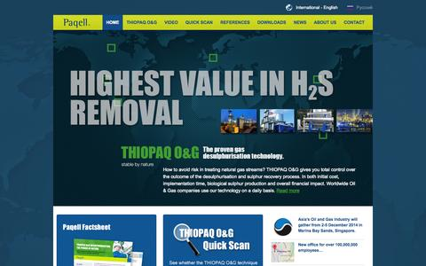 Screenshot of Home Page paqell.com - Paqell - Gas Desulpherisation and Sulphur Recovery with THIOPAQ O&G | Paqell - captured Sept. 29, 2014