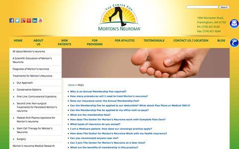 Screenshot of FAQ Page mortonsneuroma.com - FAQ's |The Center for Morton's Neuroma Treatment - captured Oct. 30, 2016