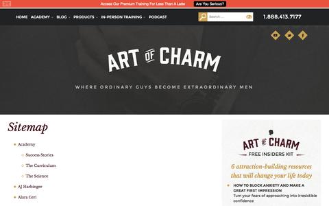 Screenshot of Site Map Page theartofcharm.com - Sitemap - The Art of Charm - captured Sept. 25, 2014