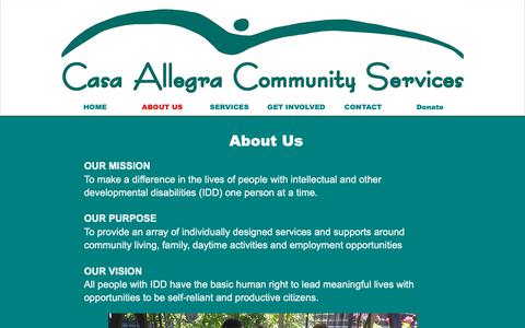 Screenshot of About Page casaallegra.org - Casa Allegra Community Services | ABOUT US - captured Sept. 27, 2018