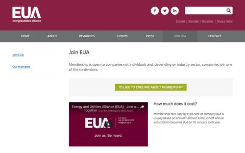 Screenshot of Signup Page eua.org.uk - Join Us   Energy and Utilities Alliance - captured Nov. 8, 2016