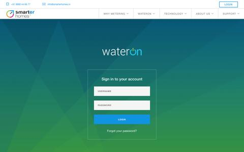 Screenshot of Login Page smartrhomes.com - WaterOn - Smart water meter for multi inlet high rise apartments - captured Dec. 20, 2016