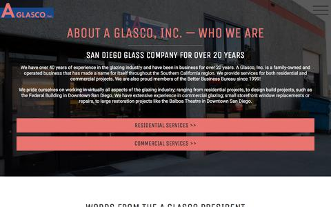 Screenshot of About Page aglasco.com - About A Glasco: Commercial & Residential Glass & Glazing - captured July 16, 2018