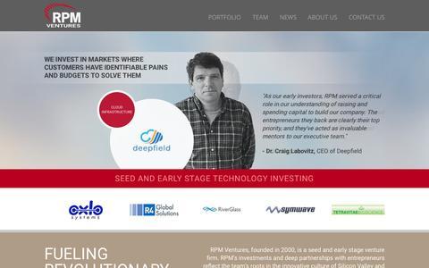 Screenshot of Home Page rpmvc.com - Home - RPM Ventures - captured Feb. 28, 2016