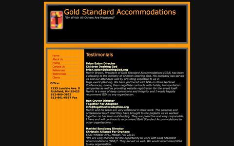 Screenshot of Testimonials Page gsaevent.com - Gold Standard Accomodations - Testimonials - captured Oct. 3, 2014