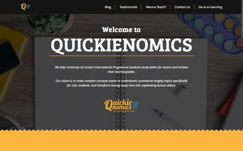 Screenshot of About Page quickienomics.com - Online Tuition Center for UOL Students - QuickienomicsQuickienomics™ - captured Sept. 16, 2015