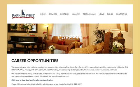 Screenshot of Jobs Page parkwestcare.com - Careers | Park West Care CenterPark West Care Center - captured March 26, 2016