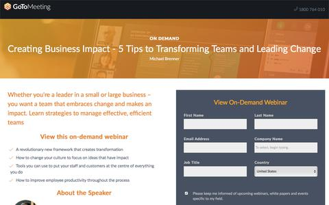 Screenshot of Landing Page gotomeeting.com - Creating Business Impact - 5 Tips to Transforming Teams and Leading Change - captured Oct. 12, 2017