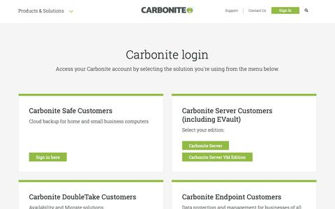 Screenshot of Login Page carbonite.com - Carbonite Login | Carbonite - captured Nov. 16, 2018